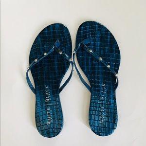 White House Black Market Blue Flip Flops Sandals